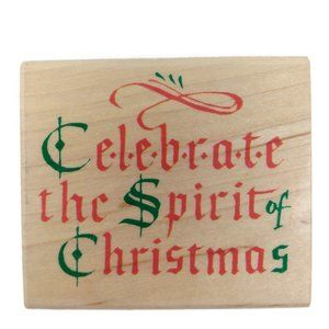 Celebrate the Spirit of Christmas Rubber Stamp